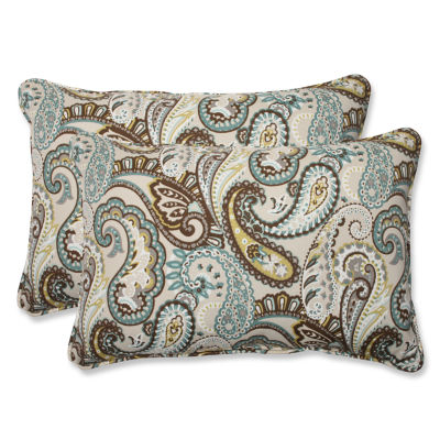 Pillow Perfect Tamara Paisley Rectangular OutdoorPillow - Set of 2
