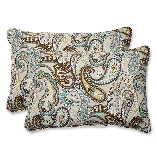 Pillow Perfect Tamara Paisley Rectangular OutdoorPillow - Set of 2