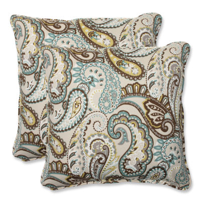 Pillow Perfect Tamara Paisley Square Outdoor Pillow - Set of 2