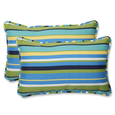 Pillow Perfect Topanga Stripe Rectangular OutdoorPillow - Set of 2