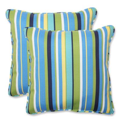 Pillow Perfect Topanga Stripe Square Outdoor Pillow - Set of 2