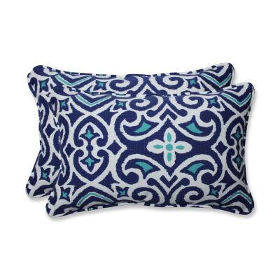 Pillow Perfect New Damask Rectangular Outdoor Pillow - Set of 2