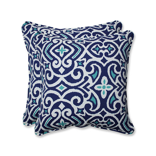 Pillow Perfect New Damask Square Outdoor Pillow -Set of 2