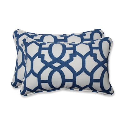Pillow Perfect Nunu Geo Rectangular Outdoor Pillow- Set of 2