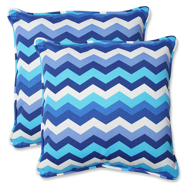 Pillow Perfect Panama Wave Square Outdoor Pillow -Set of 2
