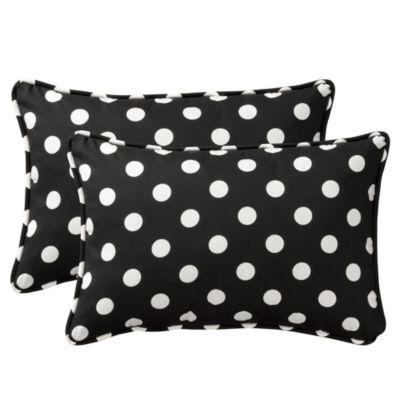 Pillow Perfect Polka Dot Oversized Rectangular Outdoor Pillow - Set of 2
