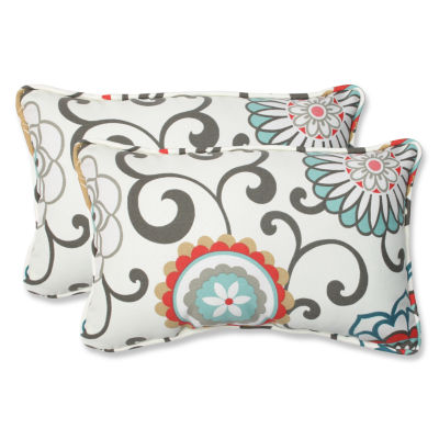 Pillow Perfect Pom Pom Play Rectangular Outdoor Pillow - Set of 2