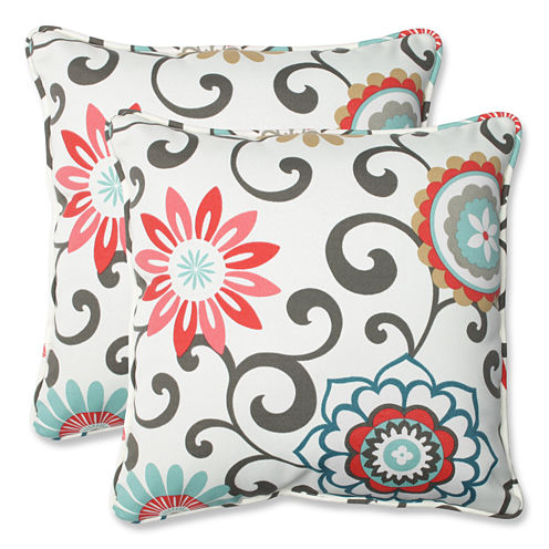 Pillow Perfect Pom Pom Play Square Outdoor Pillow- Set of 2