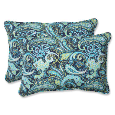 Pillow Perfect Pretty Paisley Rectangular OutdoorPillow - Set of 2