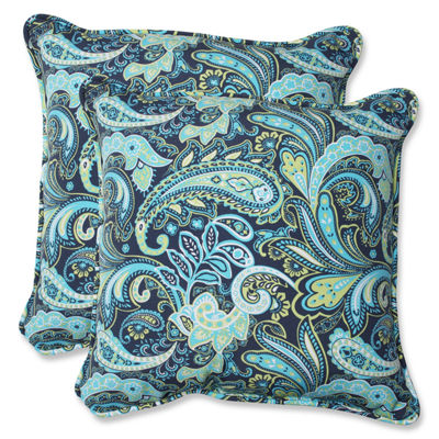 Pillow Perfect Pretty Paisley Square Outdoor Pillow - Set of 2