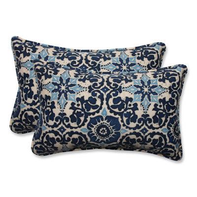 Pillow Perfect Woodblock Prism Rectangular OutdoorPillow - Set of 2