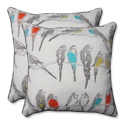 Pillow Perfect Retweet Square Outdoor Pillow - Setof 2