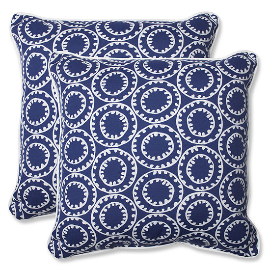 Pillow Perfect Ring a Bell Square Outdoor Pillow -Set of 2