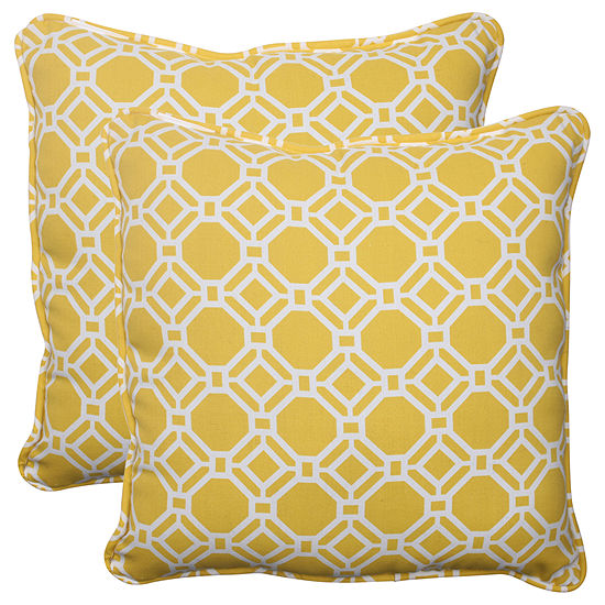 Pillow Perfect Rossmere Square Outdoor Pillow - Set of 2