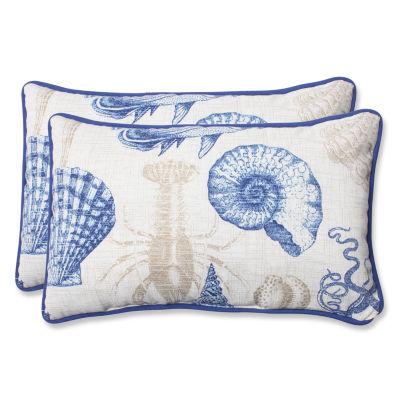 Pillow Perfect Sealife Rectangular Outdoor Pillow- Set of 2