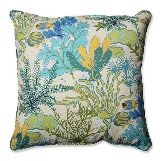 Pillow Perfect Splish Splash Square Outdoor FloorPillow