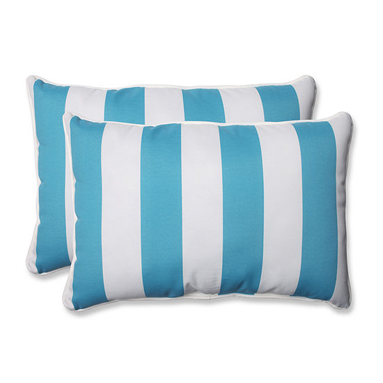 Pillow Perfect Stripe Rectangular Outdoor Pillow -Set of 2