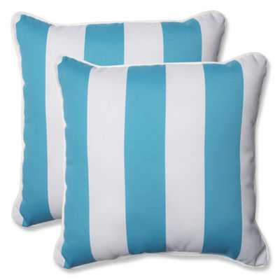 Pillow Perfect Stripe Square Outdoor Pillow - Setof 2