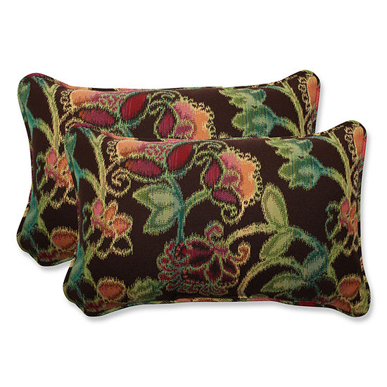 Pillow Perfect Pillow Perfect Rectangular OutdoorPillow with Sunbrella Vagabond Paradise Fabric - Set of 2