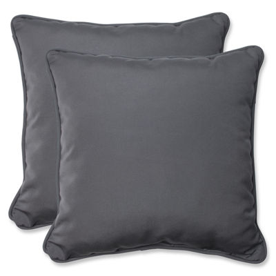 Pillow Perfect Pillow Perfect Square Outdoor Pillow with Charcoal Sunbrella Fabric - Set of 2