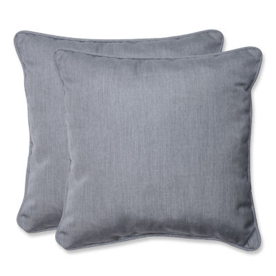 Pillow Perfect Pillow Perfect Square Outdoor Pillow with Grey Sunbrella Fabric - Set of 2