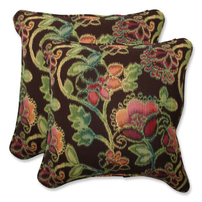 Pillow Perfect Pillow Perfect Square Outdoor Pillow with Sunbrella Vagabond Paradise Fabric - Set of2