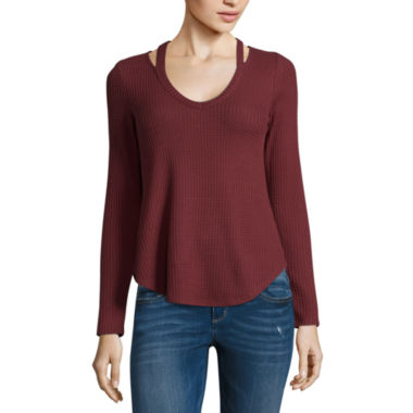 Self Esteem Long Sleeve V Neck Knit Blouse-Juniors