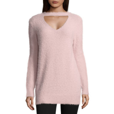 Arizona Fuzzy Cut Out Neckline Sweater-Juniors