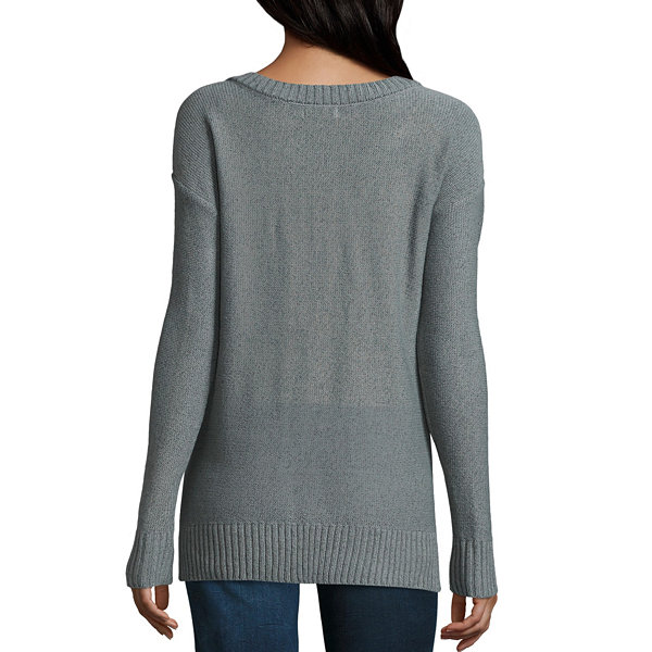 Arizona Criss Cross Tunic Sweater-Juniors