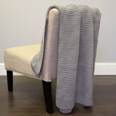 Acrylic Knit Pietra Throw Blanket Solid Color Chevron Pattern 50x60