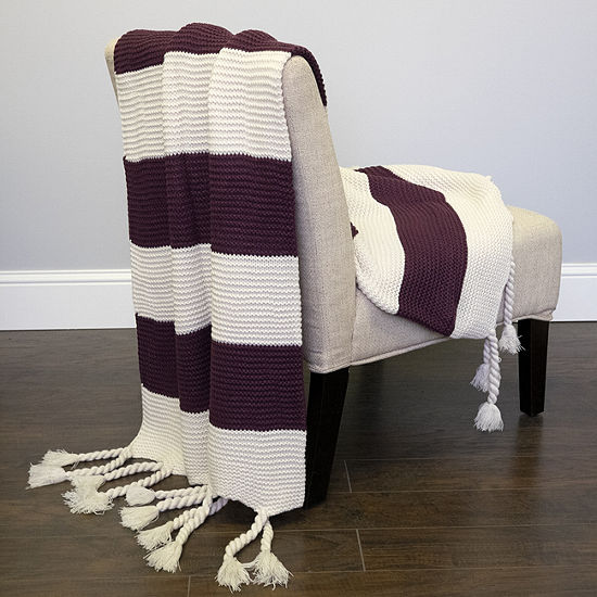 Acrylic Knit Throw Blanket Vintage Two Color Stripe W Tassels 50x60