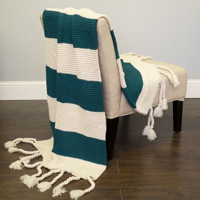 "Acrylic Knit Throw Blanket Vintage Two Color Stripe w/Tassels 50""x60"""