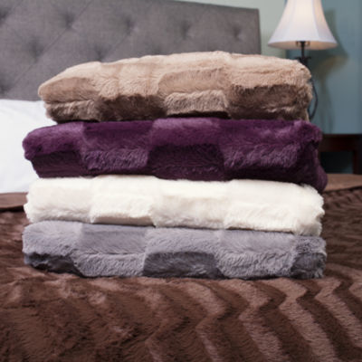 Box Pattern Soft Plush Faux Mink Fur Bed Blanket