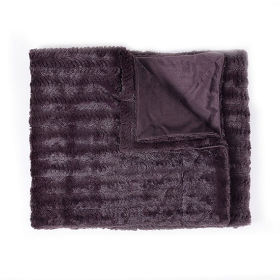 Decorative Reversible Faux Fur & Mink Throw Blanket 50 X 60 Box Patern