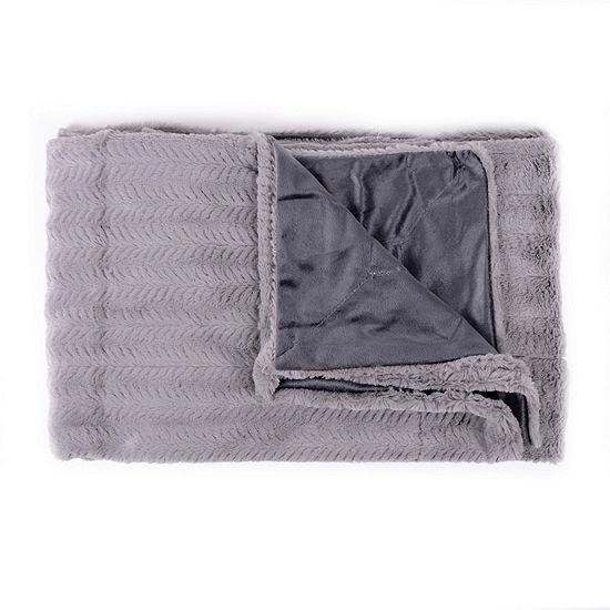 Decorative Reversible Faux Fur & Mink Throw Blanket 50 X 60 Box Patern