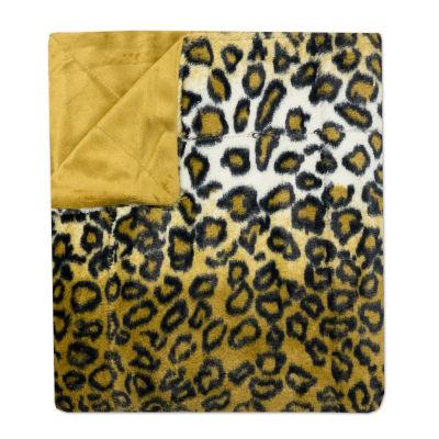 "Leopard Print Plush Faux Fur Decorative Throw Blanket 50""x 60"""