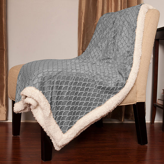 Mermaid Sherpa Reversible Soft Poly Faux Lamb's Wool Throw Blanket 50 x 60