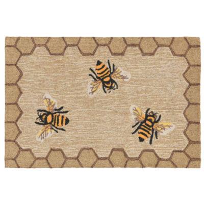 Liora Manne Frontporch Honeycomb Bee Indoor/Outdoor Rug