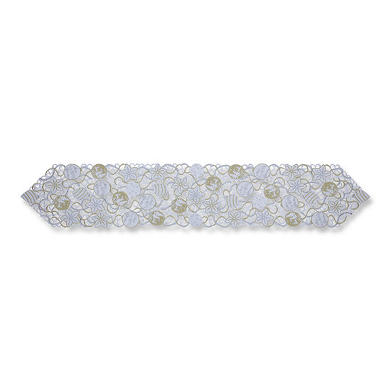 Pillow Perfect Ornaments White-Silver 68-inch Table Runner