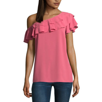 a.n.a Ruffle One Shoulder Short Sleeve Crew Neck Woven Blouse
