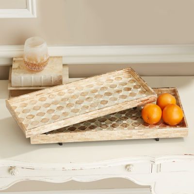 Two's Company Set Of 2 Mother Of Pearl Footed Trays
