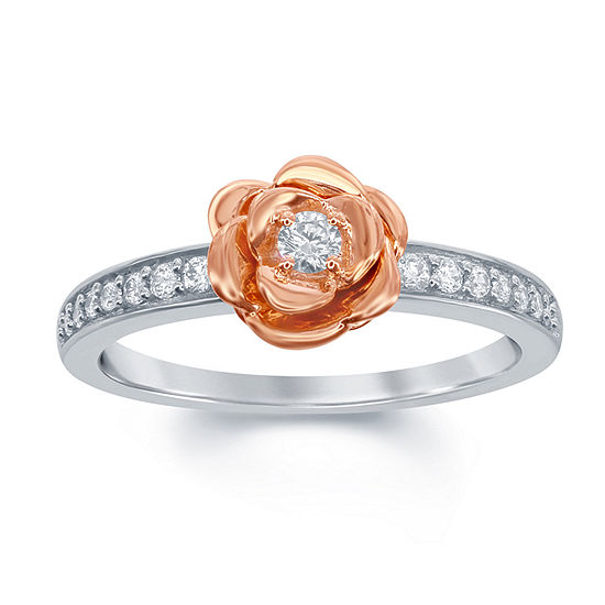 Enchanted Disney Fine Jewelry Womens 1/5 CT. T.W. Genuine White Diamond 10K Rose Gold Over Silver 10K White Gold Beauty and the Beast Engagement Ring
