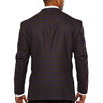 Stafford Merino Wool Stretch Brown Blue Checked Classic Fit Sport Coat - Big and Tall