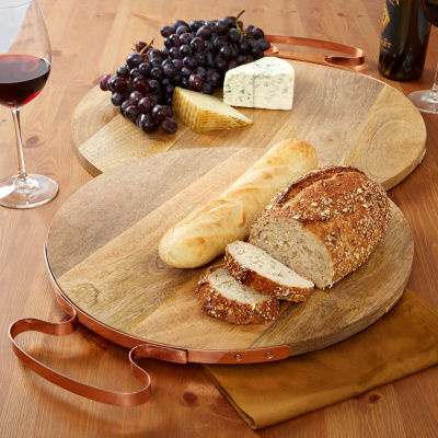 Two's Company Set Of 2 Wood Cheese Boards With Copper Handle