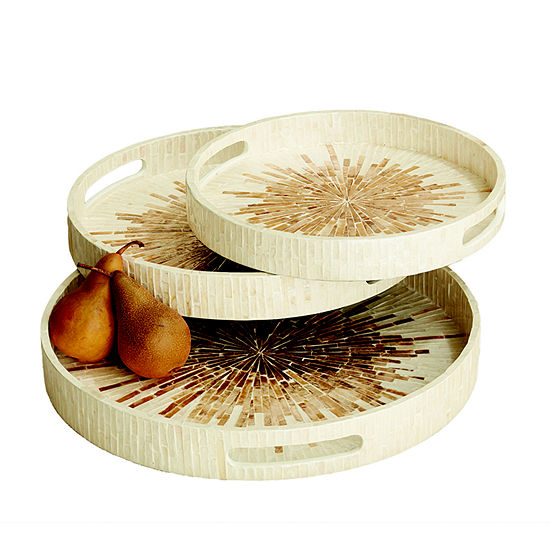 Twos Company Sunburst Set Of 3 Mother Of Pear Round Trays