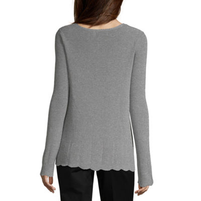 Liz Claiborne Womens V Neck Long Sleeve Pullover Sweater