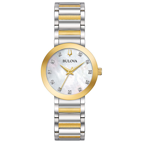 Bulova Futuro Womens Two Tone Stainless Steel Bracelet Watch-98p180