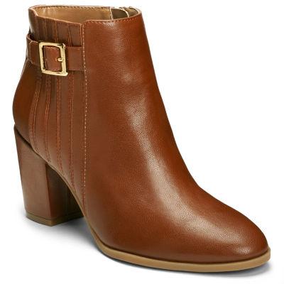 A2 by Aerosoles Womens Great Wall Stacked Heel Zip Bootie
