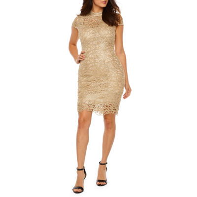 Premier Amour Short Sleeve Jewel Lace Sheath Dress