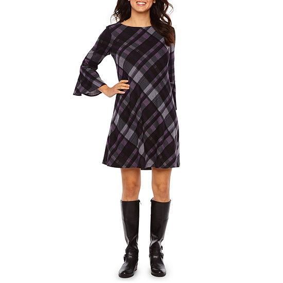 Jessica Howard 3 4 Sleeve Plaid Shift Dress